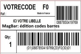 Logiciel d'édition de codes-barres pour étiquettes expédition (EAN13, CODE128, UCC128...)